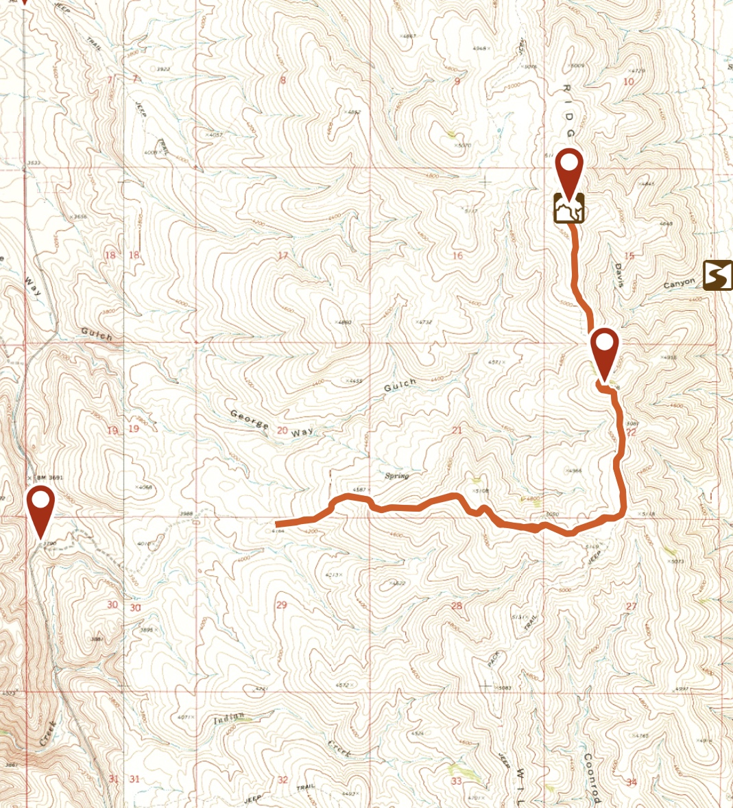 This is my GPS track for the hike. From my parking spot it was 8.4 miles round trip with 1,800 feet of gain. I would not recommend driving any farther than my starting point nor going as far as I did unless you have a 4WD with exceptional off road tires.