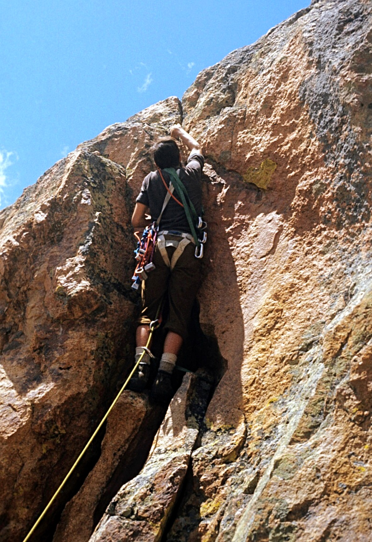 Per the red line, we hiked up a gully & then worked left to where the line starts up again. That was the first pitch & the below photo of Harry is on that crux pitch. Ray Brooks Photo
