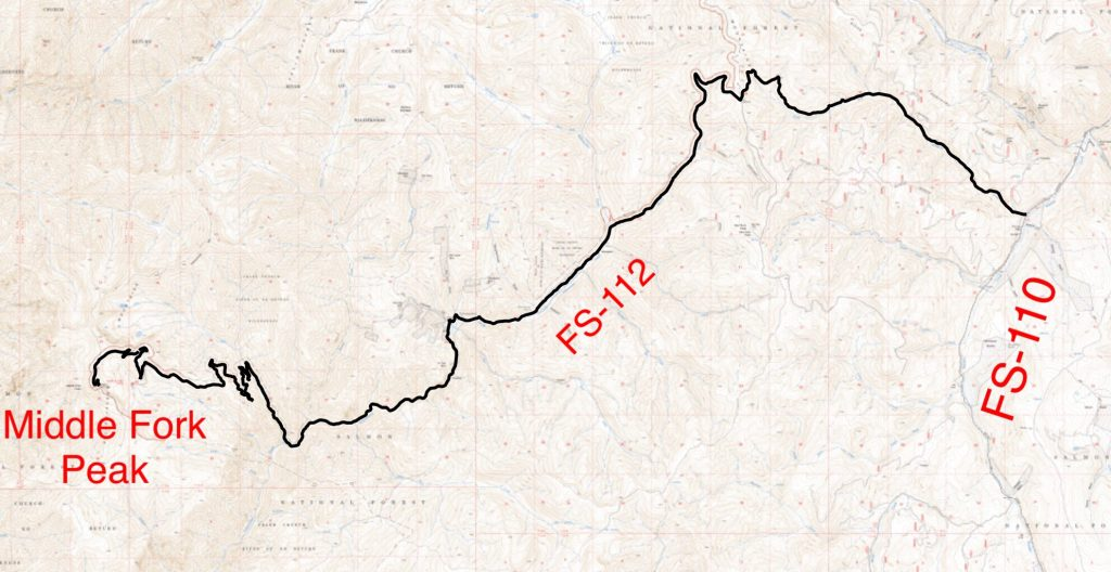 This map is simply to demonstrate that the route is a convoluted journey that crosses very difficult terrain. Don't try this excursion without a Forest Service map and topo maps or a good GPS track.