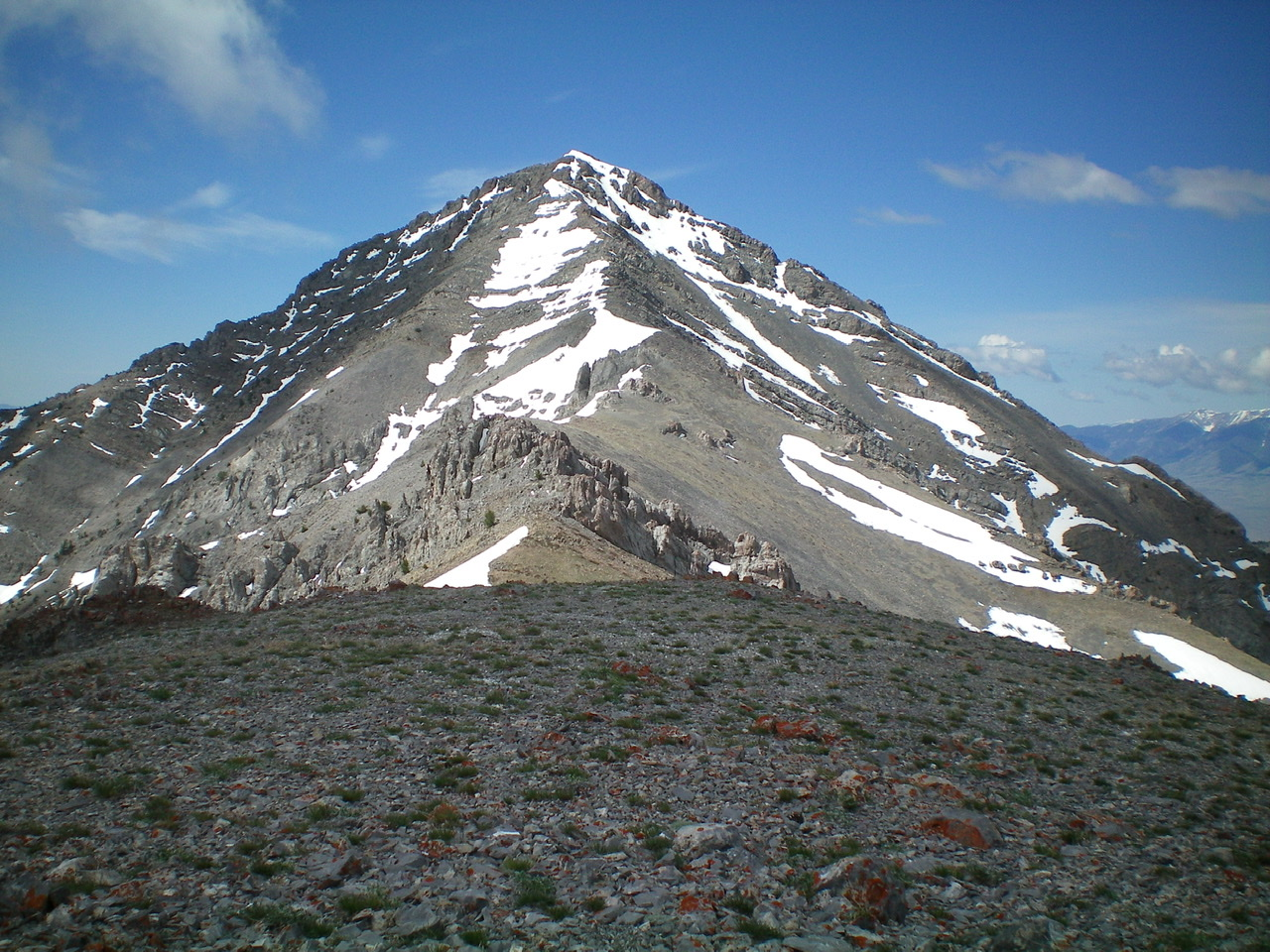The entire North Ridge of Saddle Mountain, as viewed from Point 10196. Notice the large Class 3 ridge outcrop on the ridge, well below the steep upper section of the ridge. Livingston Douglas Photo