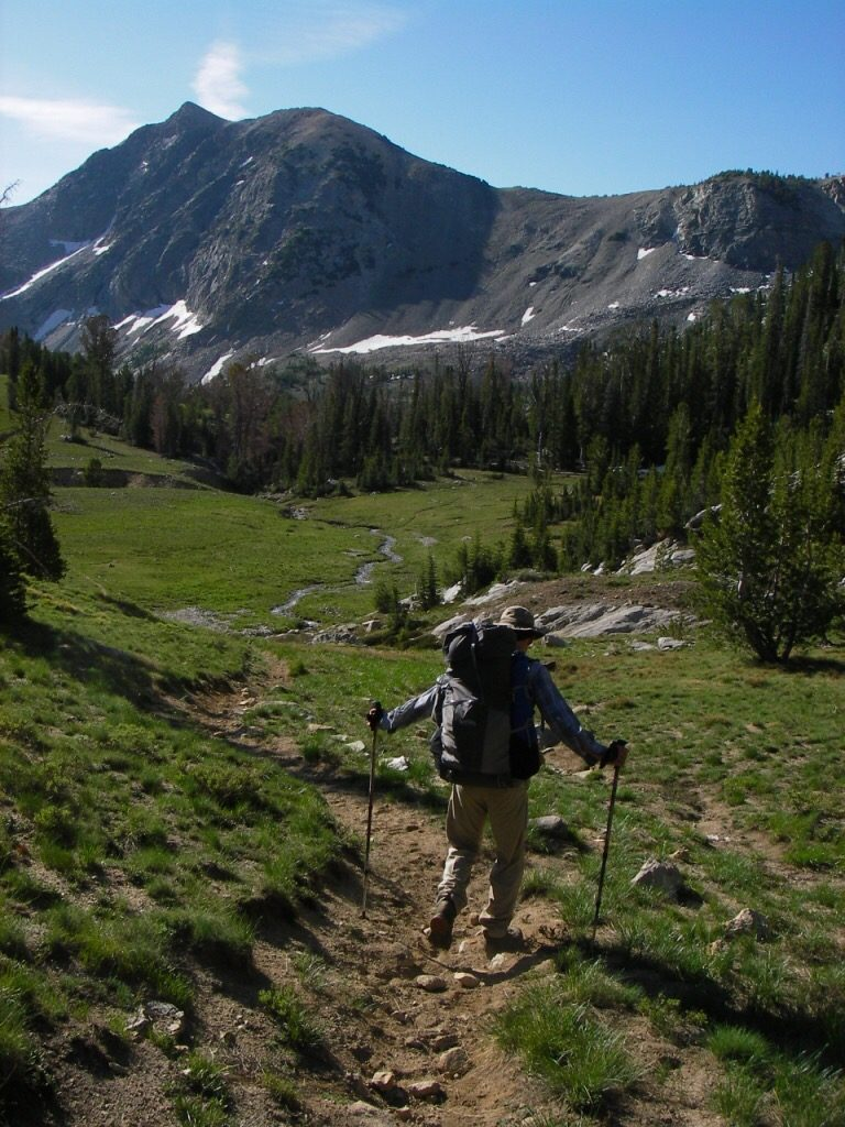 Carl descends into Box Canyon from Johnstone Pass. Judi Steciak Photo