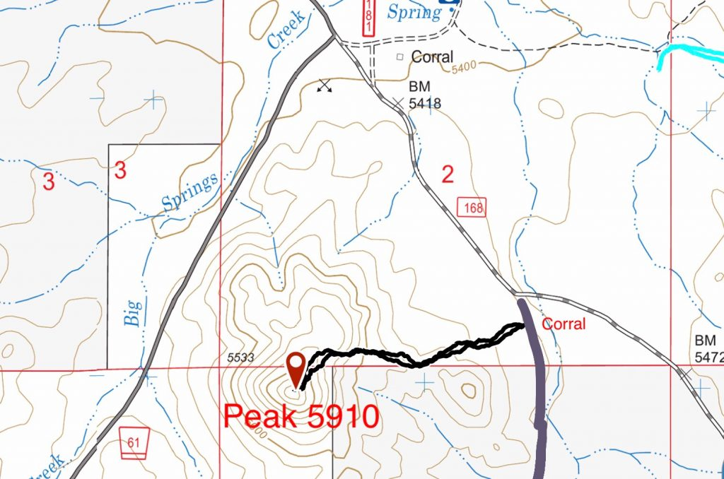 My GPS track for Peak 5910. My route covered 1.3 miles with 377 feet of gain round trip.