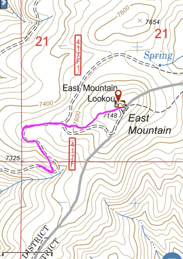 My GPS track for the last 0.75 miles to the summit.