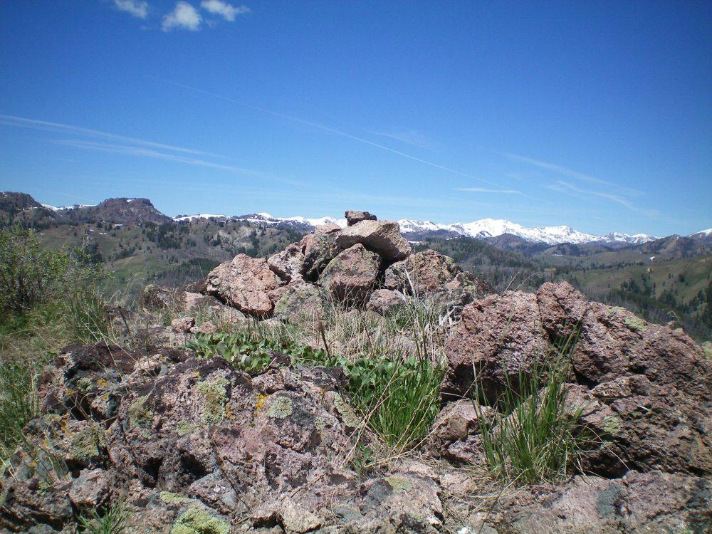 The summit cairn atop Mahoney Butte. Livingston Douglas Photo