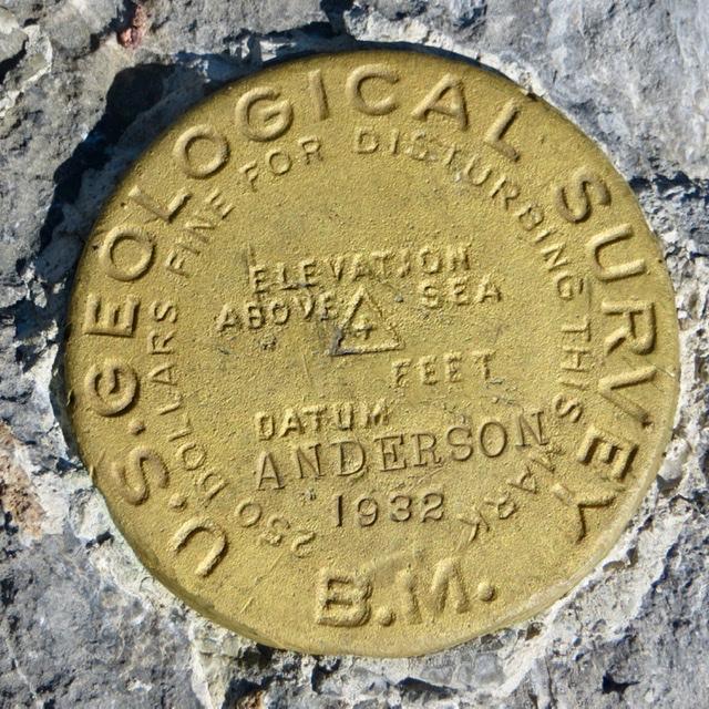 Anderson Peak summit survey marker. Steve Mandella photo