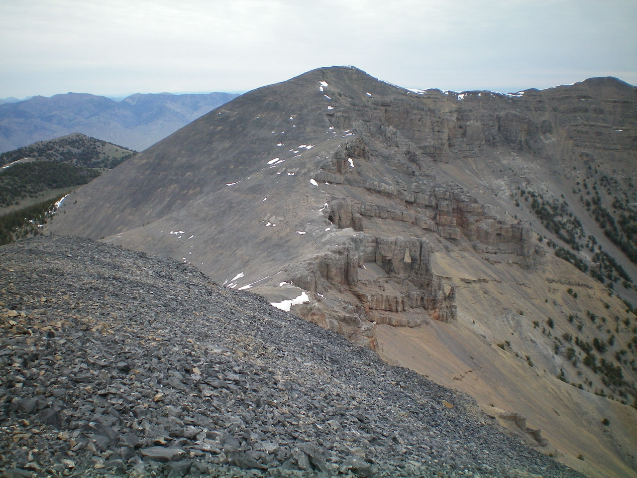 The connecting ridge between Peak 10604 and Shril Benchmark, as viewed from the summit of Peak 10604.