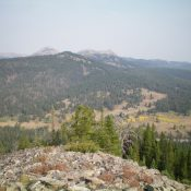 Peak 8340 (forested in mid-ground) as viewed from across Targhee Pass to the southeast. Livingston Douglas Photo