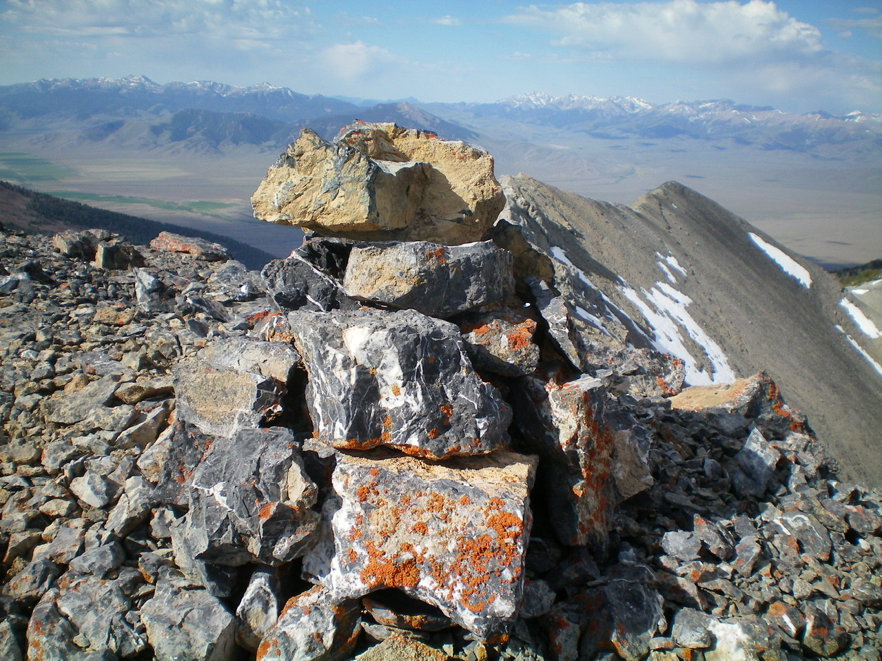 The newly-built summit cairn atop the true summit of Medusa. Livingston Douglas Photo