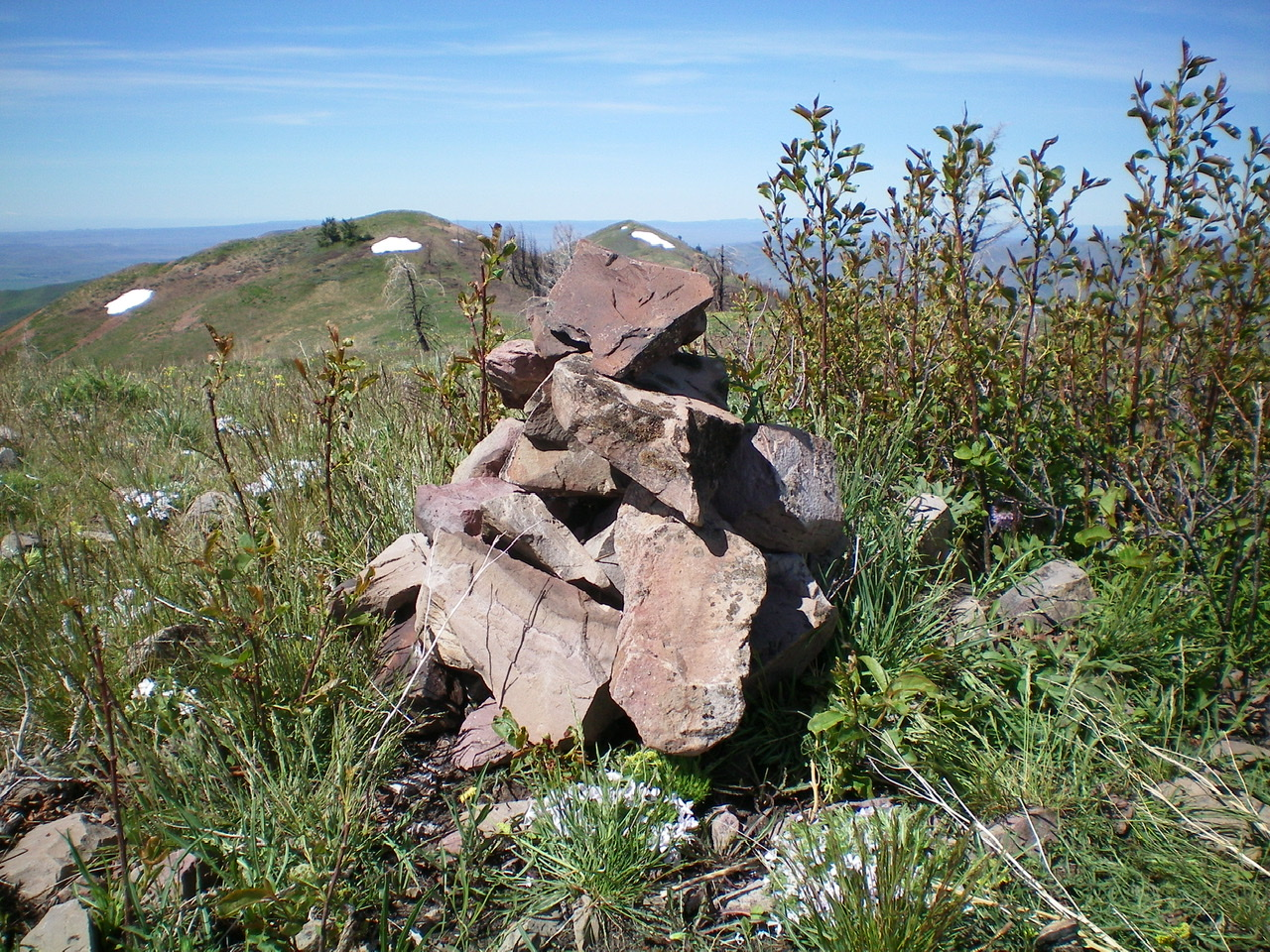 The newly-built summit cairn atop Peak 8074. Livingston Douglas Photo