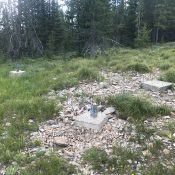 The footings for the lookout tower are all that remains on the summit.