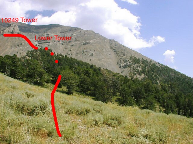 Looking from the trail high point to the Tower Rib with the approximate route in red. Bob Bolton Photo