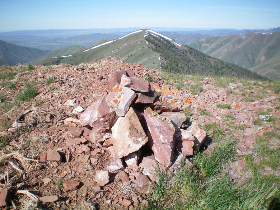 The newly-built summit cairn atop Vue Benchmark. Livingston Douglas Photo