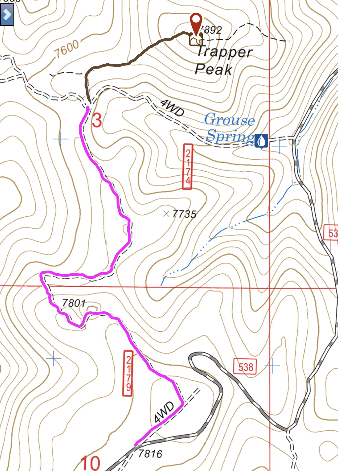 The road approach from FS-538 is shown in pink and the hike in black.