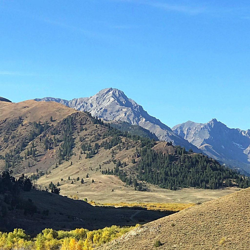 Ferguson Peak (left of center) viewed from Dry Creek.
