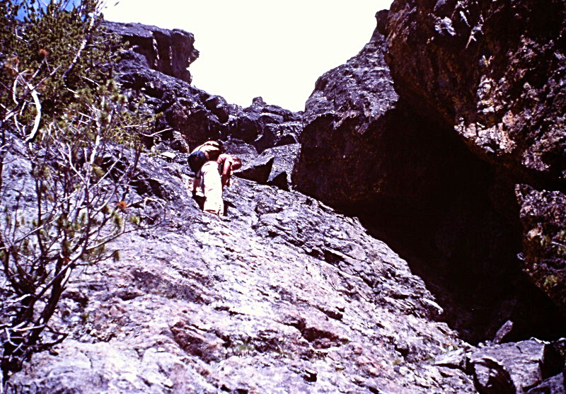 This photo shows the slabs above the leaning rock at the notch as described in the book.