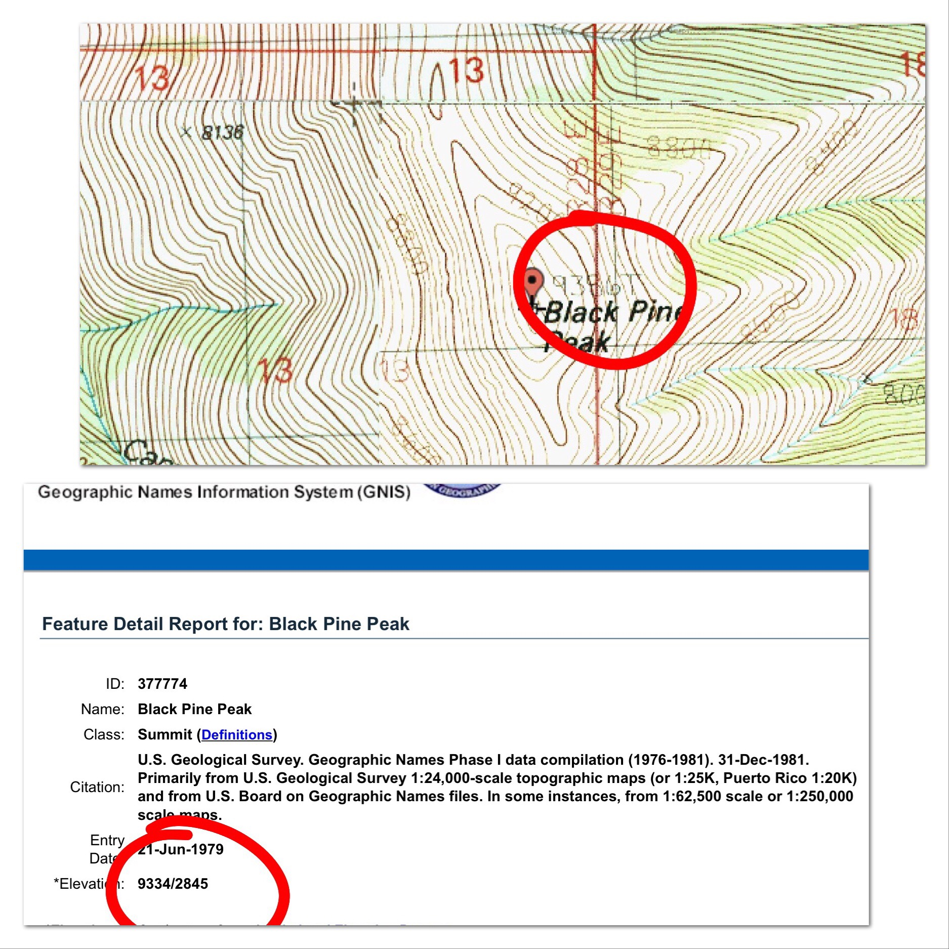 This graphic shows discrepancy between a USGS map and the associated Board of Geographic Names page.