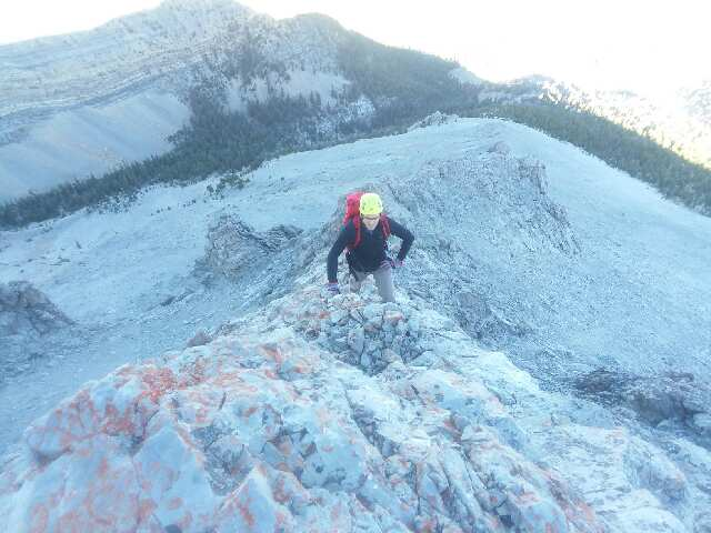 Thierry Legrain Climbing mid ridge. Kevin Hansen Photo