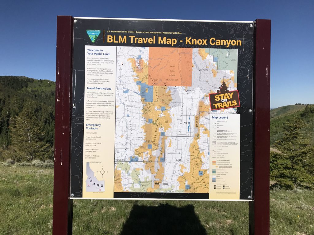 This sign is found on the pass where the Big Canyon/Knox Canyon Road crosses the range.