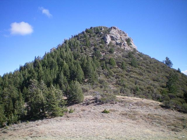 The imposing rock (and mountain mahogany) of the [false] west summit of Peak 8037. Livingston Douglas Photo