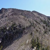 Waterfall Creek Peak looking up the northwest ridge. Dave Pahlas Photo