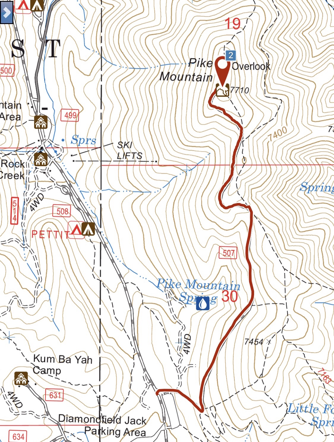 My GPS track for the road to the top of Pike Mountain. One waymdistance is 1.8 miles with 642 feet of elevation gain.