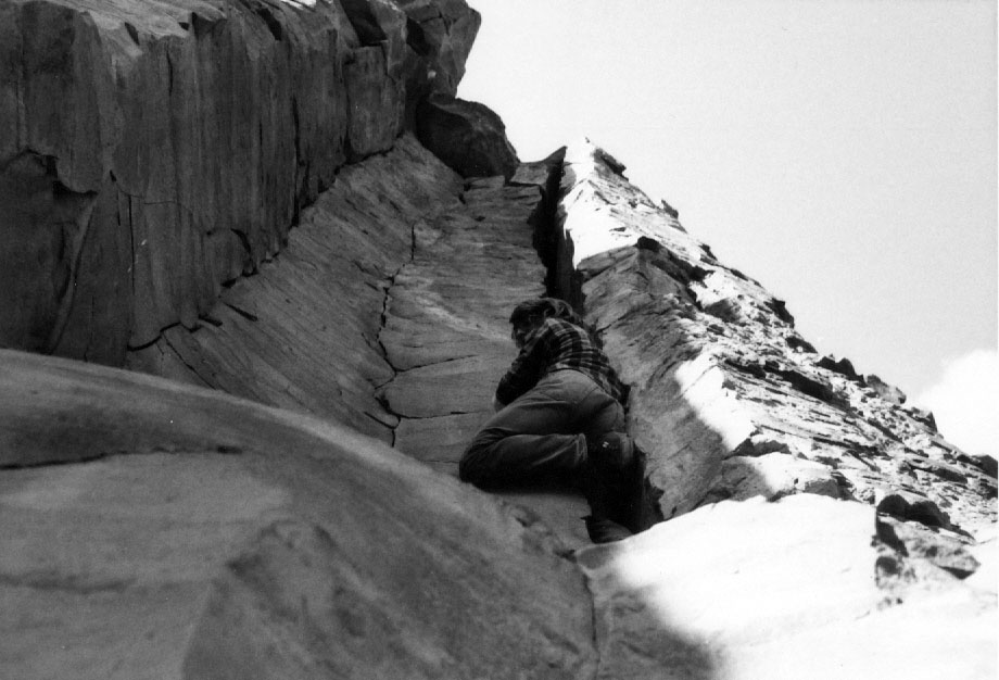 "Bob Boyles checking out Wounded Knee at the Black Cliffs for the first time in February 1974. ""Soon after, I bought some tube chocks from Sawtooth Mountaineering and went out and completed it with Frank Florence."" Mike Weber Photo"