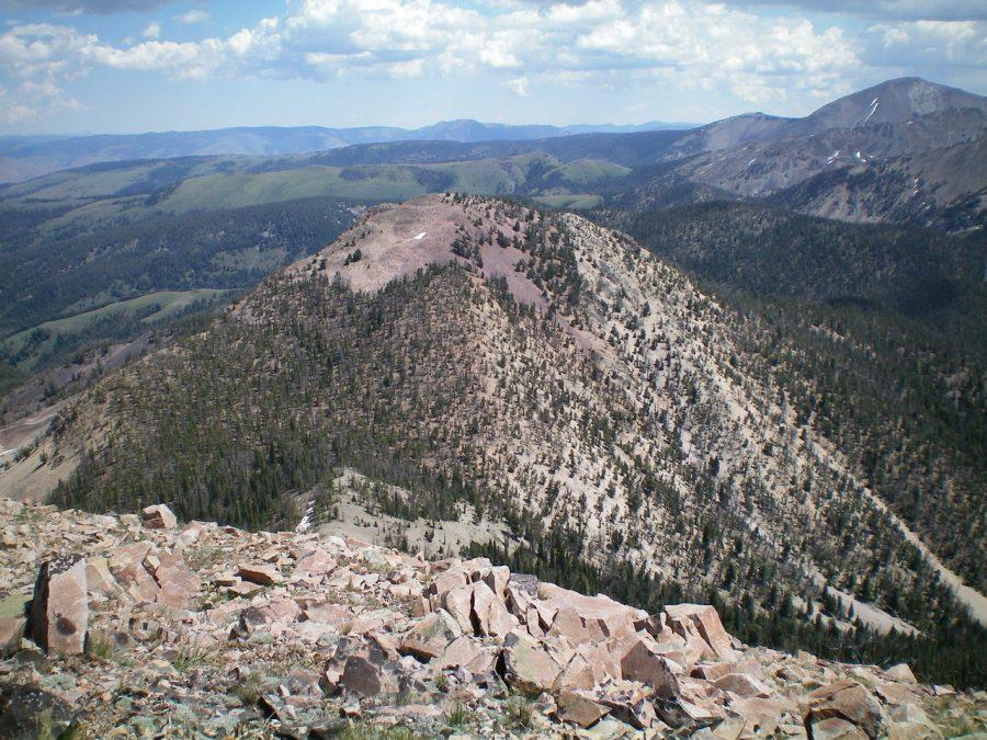 Peak 9523 as viewed from nearby Peak 9785. Livingston Douglas Photo