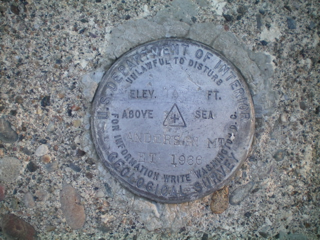 The USGS benchmark atop Anderson Mountain. Livingston Douglas Photo