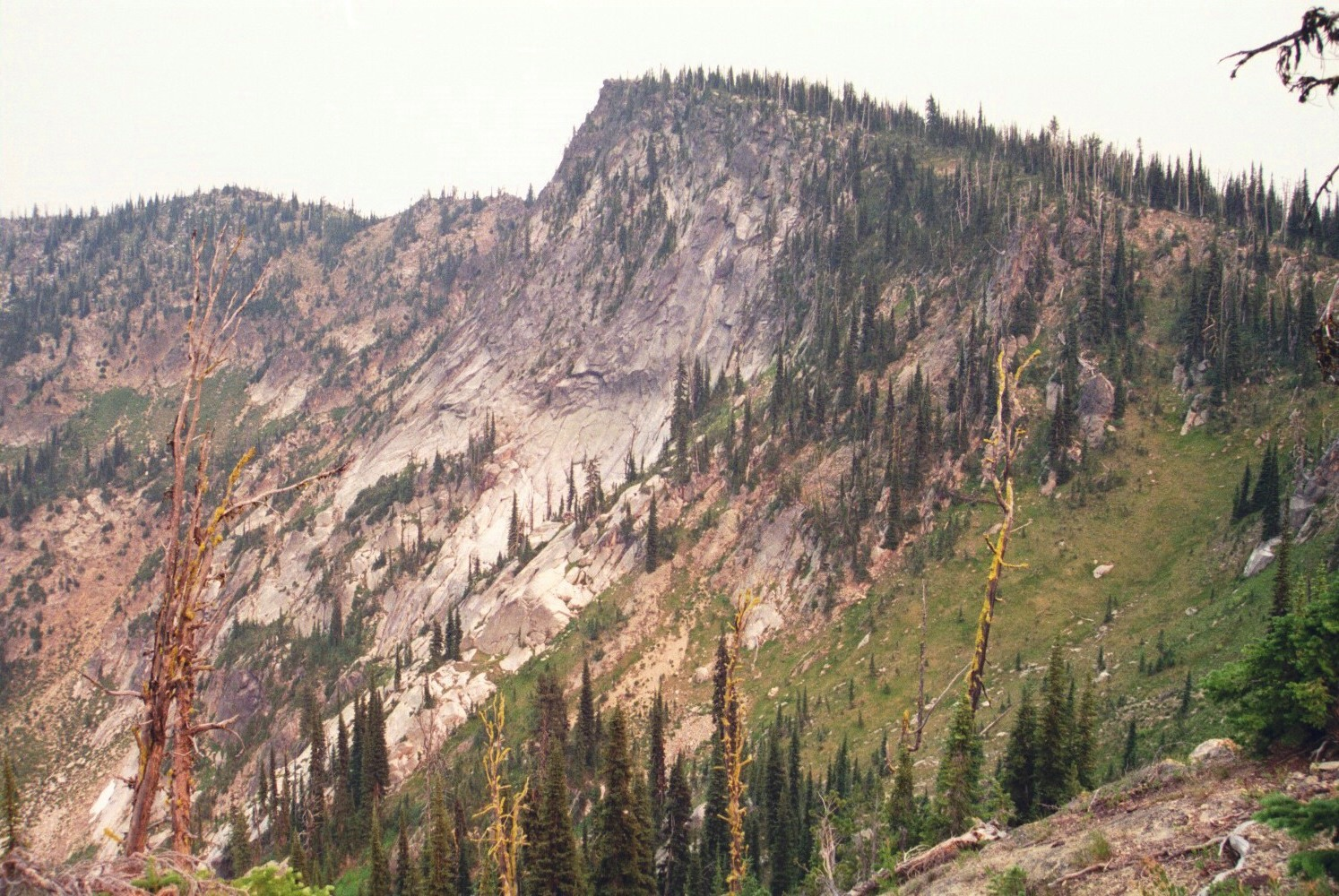 This is the view of Indian Peak from the ridge that runs northwest from the summit. Most of the mountain is formed of gradual slopes, but the north face is quite steep and rugged. The dim light is from smoke of area forest fires blocking the sun. July 2007 Mike Hays Photo