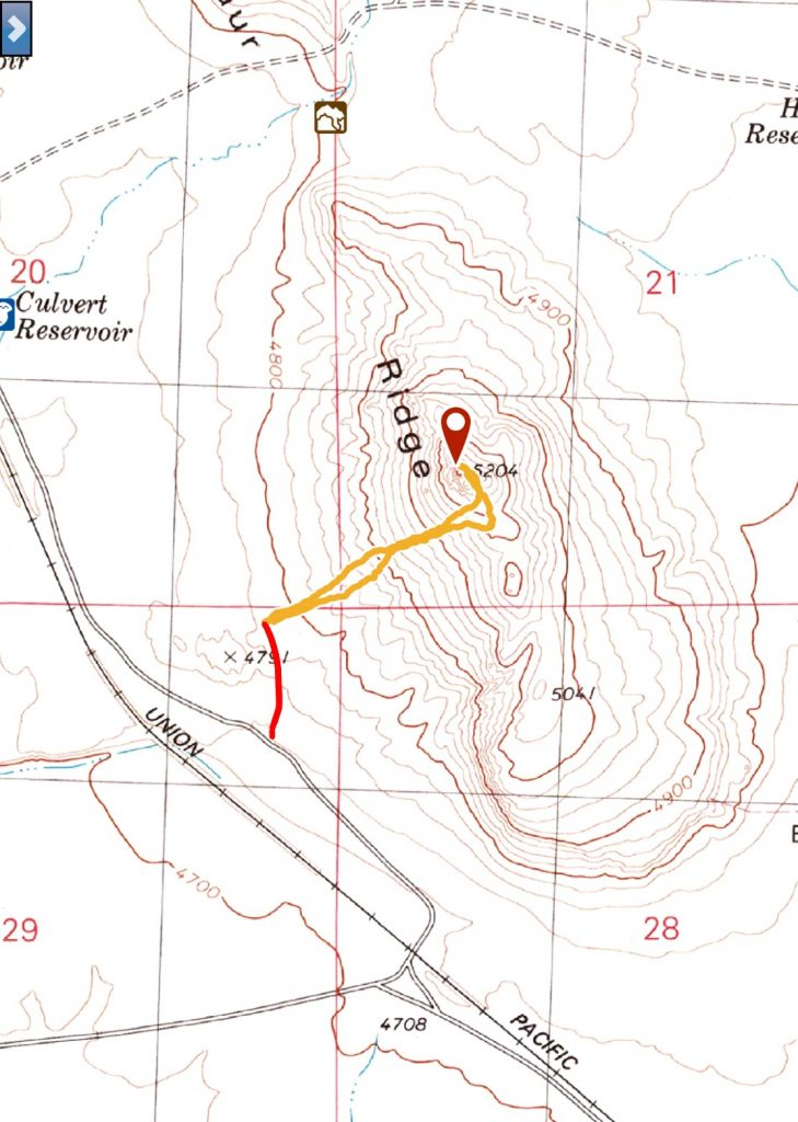 My GPS track. The red dots represent the two track which does not show on the USGS map.