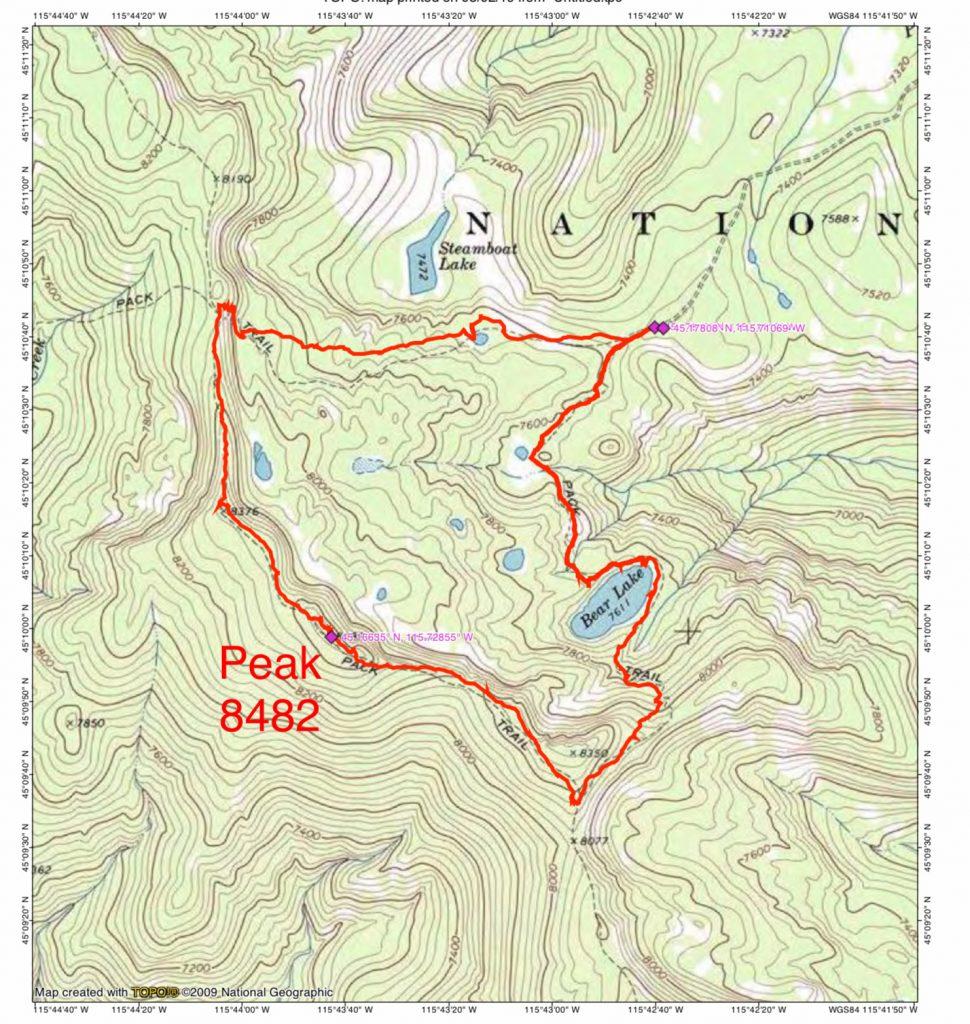 John Platt's GPS track. The loop hike is 7.9 miles long with 1,787 feet of elevation gain.