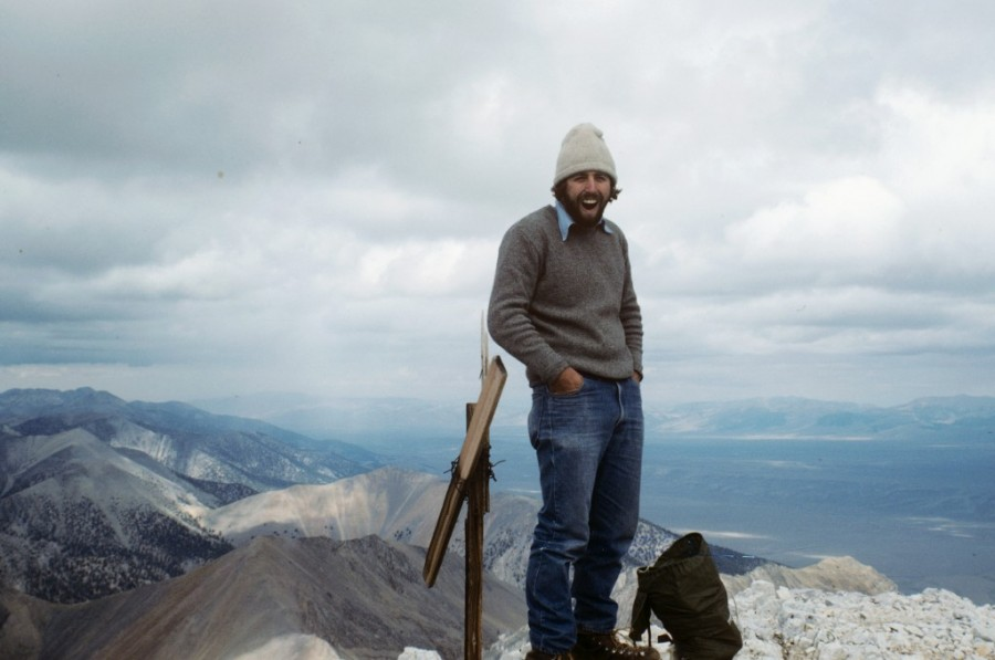 On the summit of Bell Mountain, 1980. Notice the fine climbing pants. I still have the sweater.