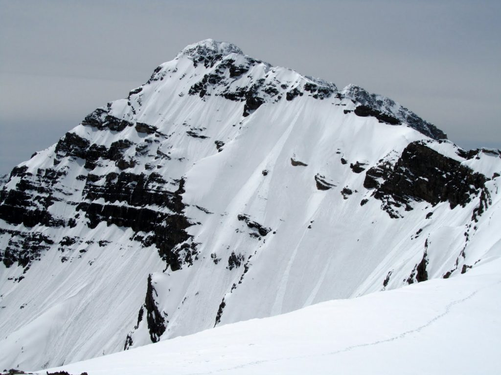 The upper East Face of Mount Borah. The Upper East Ridge is on the left and the Northeast Ridge, right foreground. The Northwest Ridge and summit are just visible in the back. Photo by John Platt