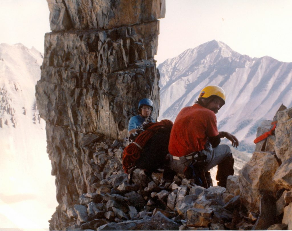 The limestone stack at the start of the technical climbing on the north face of Mount Breitenbach. Photo - Curt Olson