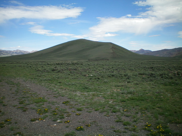 Reed and Davis Benchmark as viewed from the Copper Basin Guard Station to its southeast. Livingston Douglas Photo