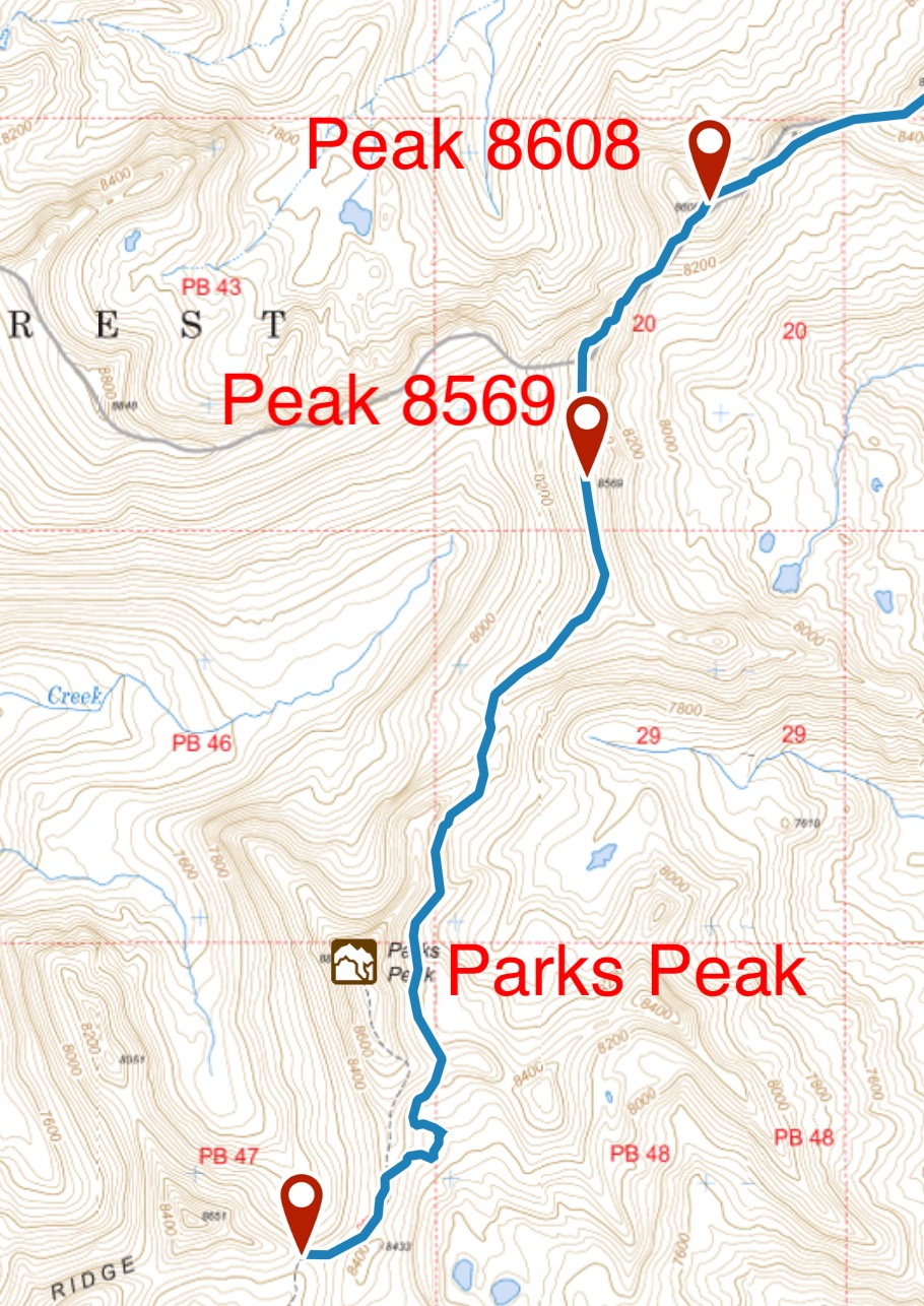 My GPS track showing the traverse line over Peak 8569.