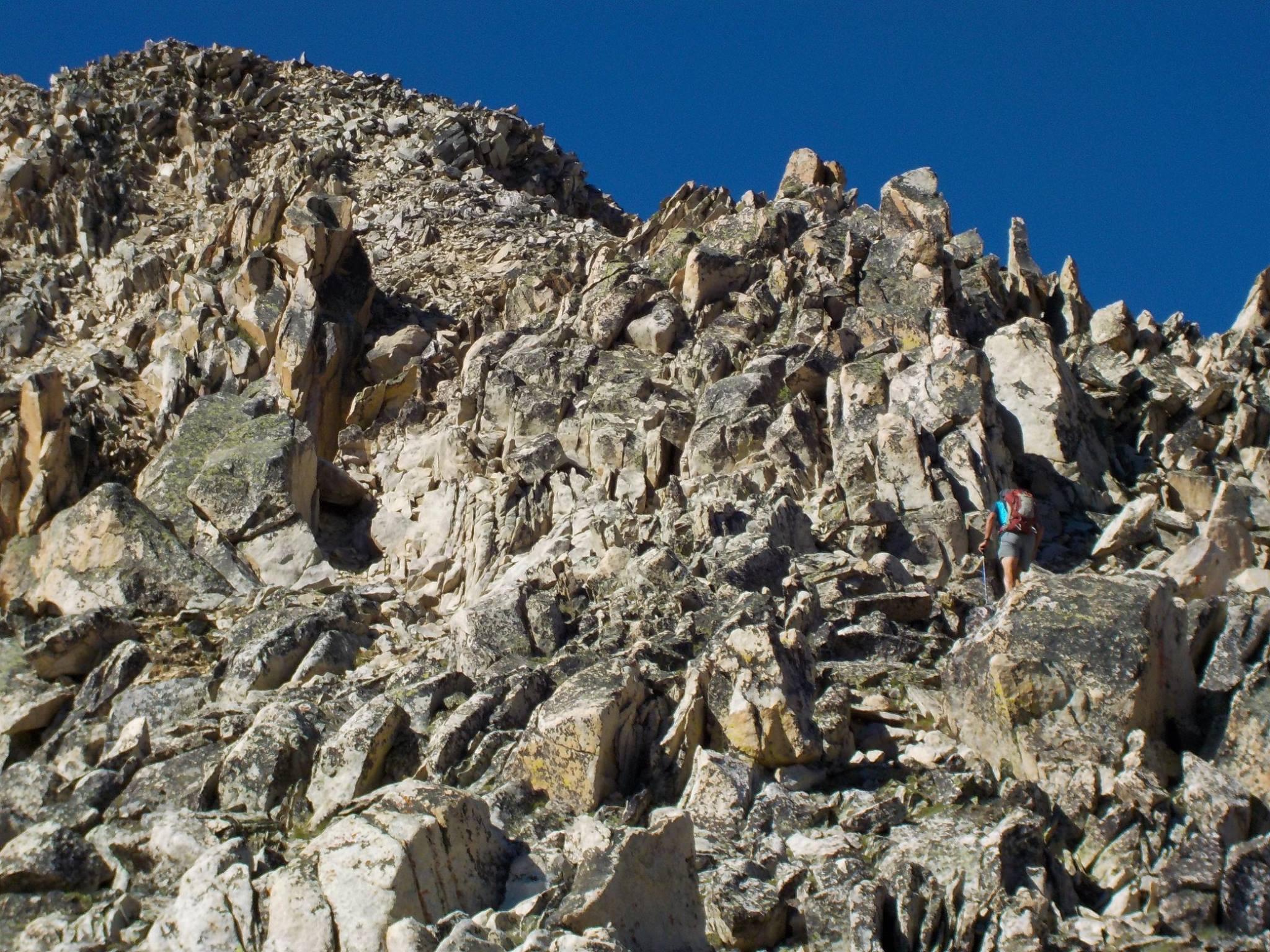 Alex Feldman ascending the northeast ridge. Pat McGrane Photo