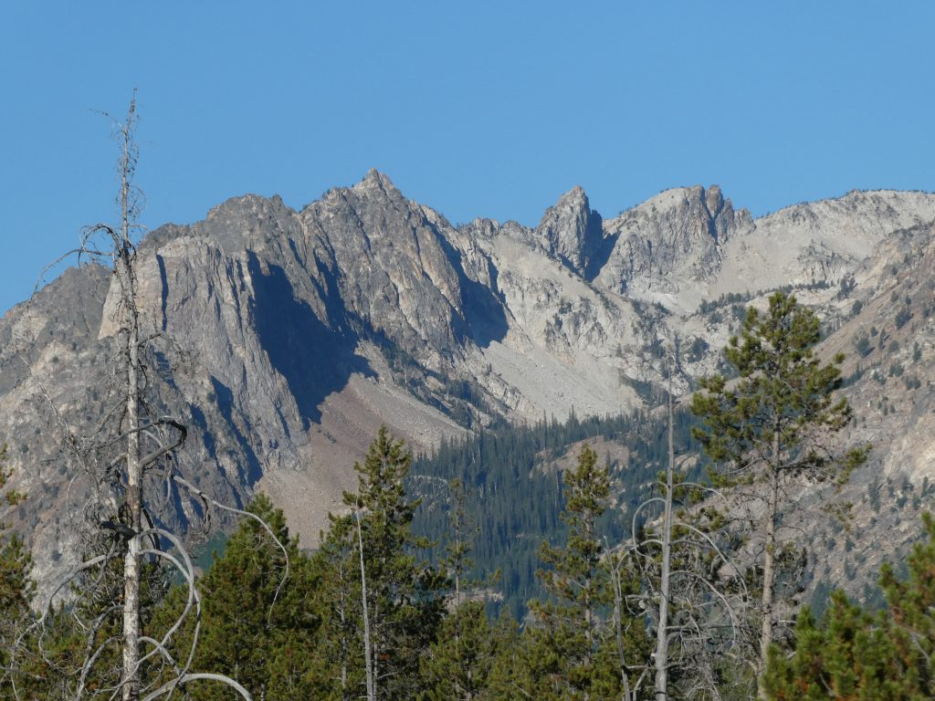 The Iowa Mountaineers' Ridge viewed from Redfish Lake begins with Mount Bush.