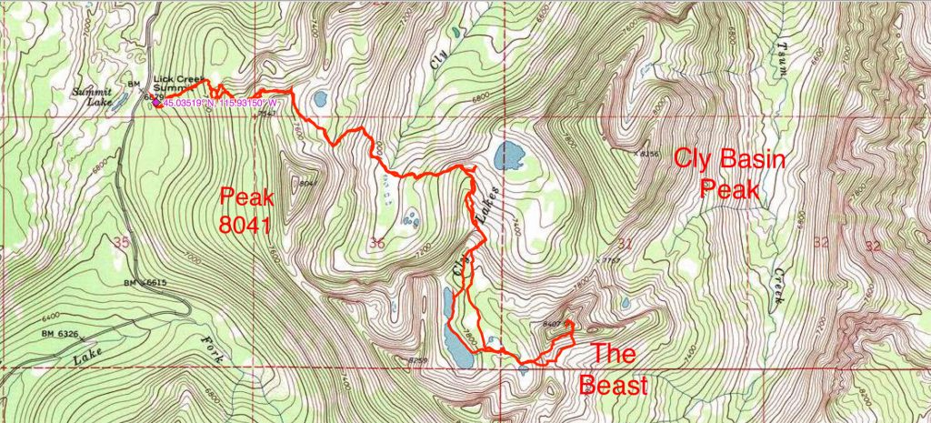 John Platt's GPS track showing the route from Lick Creek Summit to the top of The Beast.
