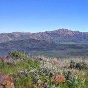 "Granite Mountain back left, House Mountain back right and Peak 5,505' ""Dixie Creek Peak"" on left. Erik Pohlmann Photo"