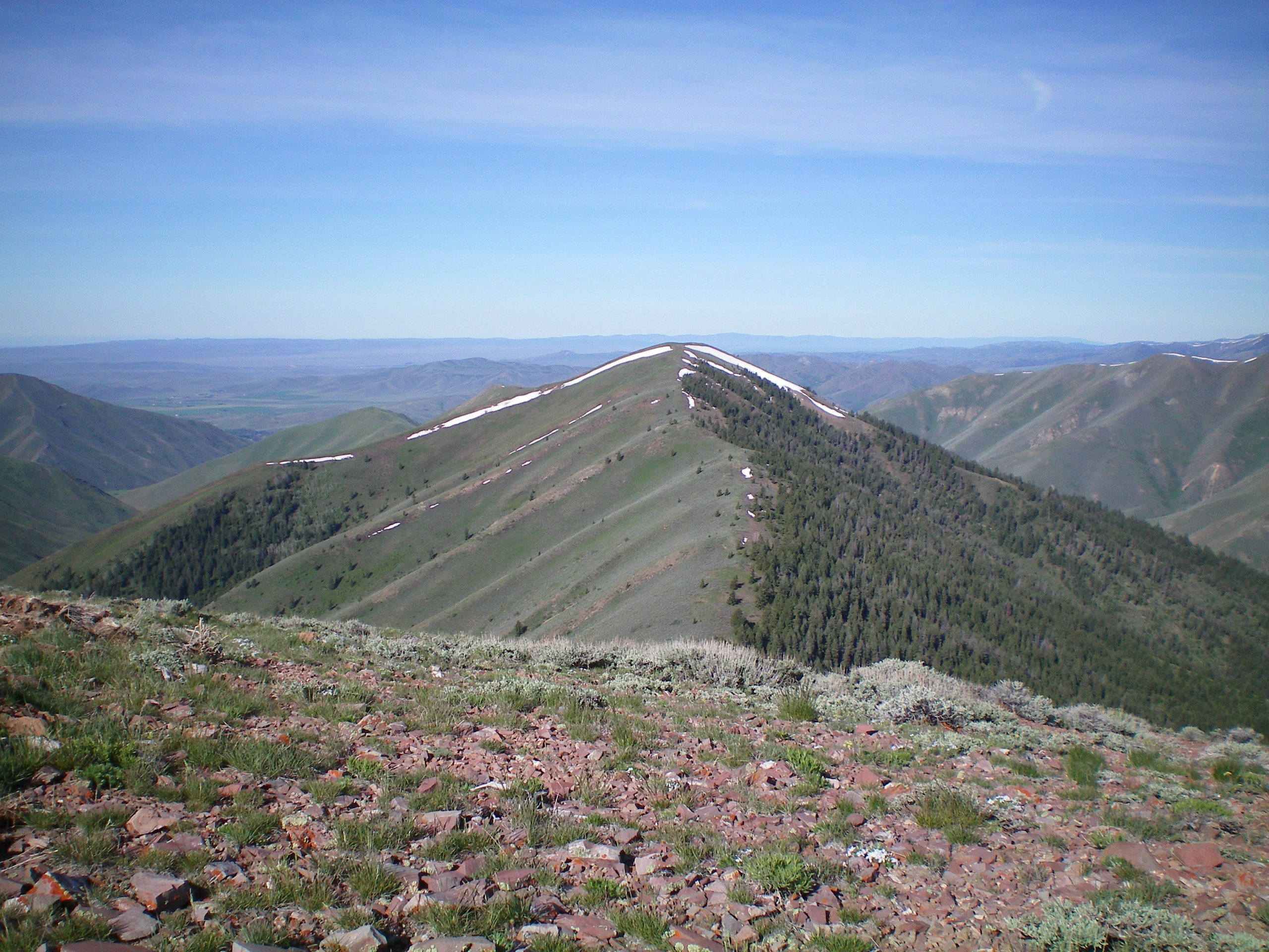 Peak 8301 and its Northeast Ridge (center of photo) and Southeast Ridge (descending leftward from the summit with a snow line on its N edge), as viewed from the summit of Vue Benchmark. Livingston Douglas Photo