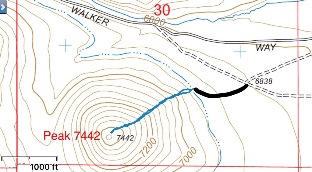 My GPS track in blue. The black line is for a two track I followed from the Walker Way Road to reach my starting point.