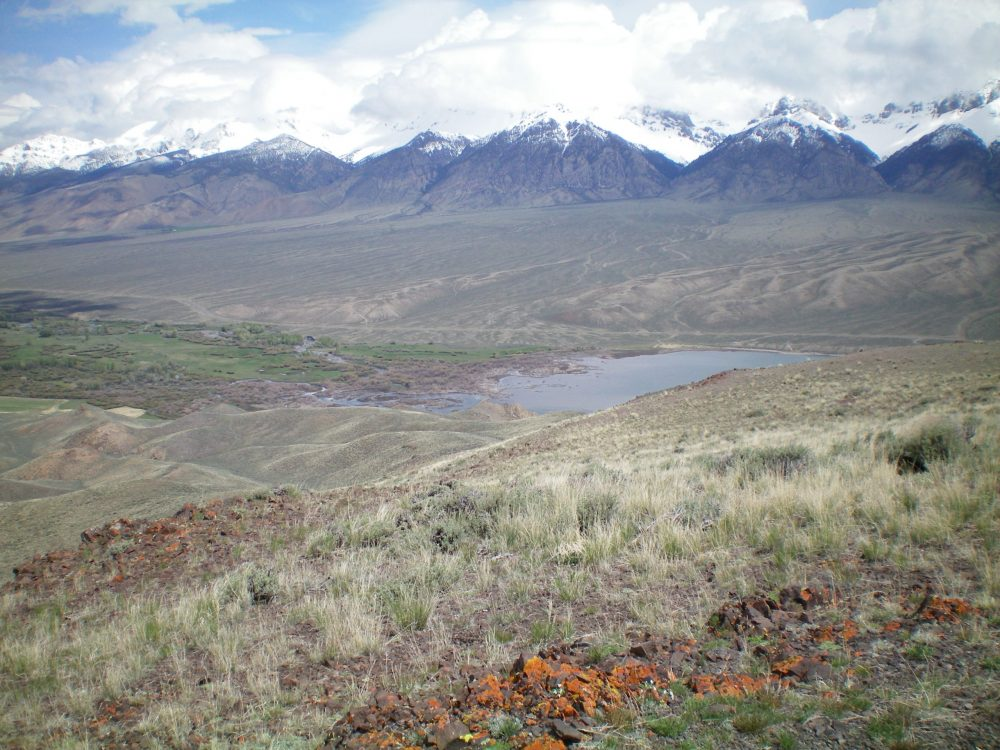 The north end of Mackay Reservoir with the braided Big Lost River feeding into it, as viewed from the summit of Dugout Hill. The beautiful, snow-capped Lost River Range is in the background. Livingston Douglas Photo