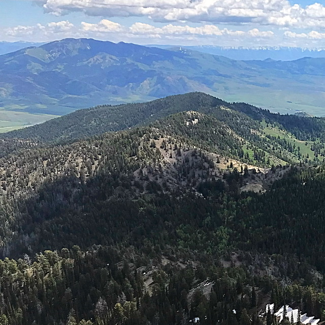 Peak 8339 (center) viewed from the summit of Elkhorn Mountain.