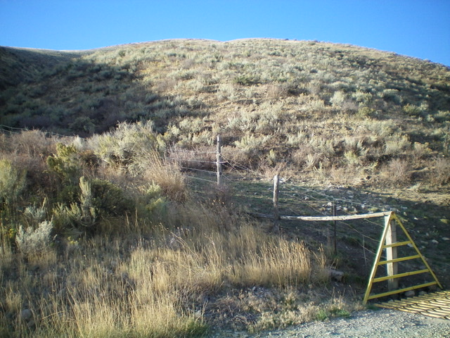 Looking up the north ridge of Peak 5849 from its base at a cattle guard along John Evans Canyon Road. Livingston Douglas Photo