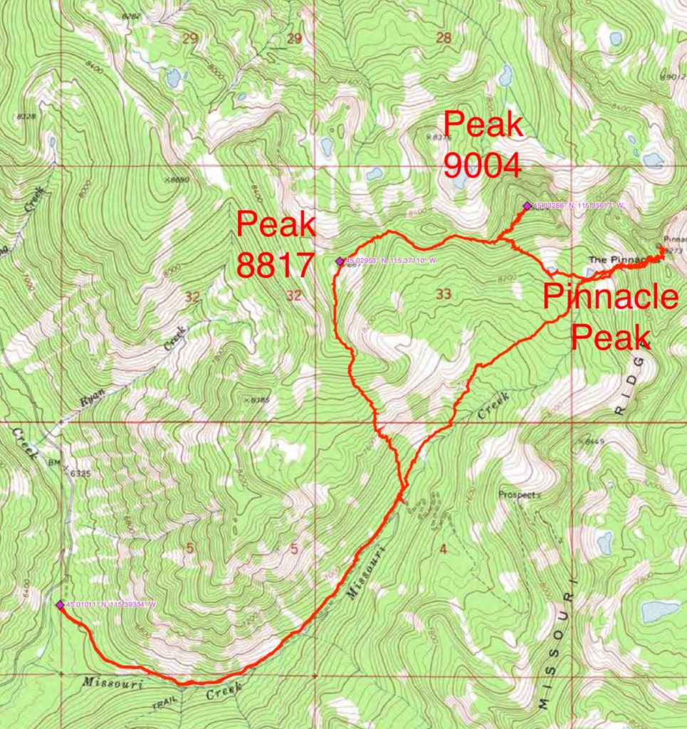 John Platt's GPS track for exploring the Missouri Creek drainage and its peaks.