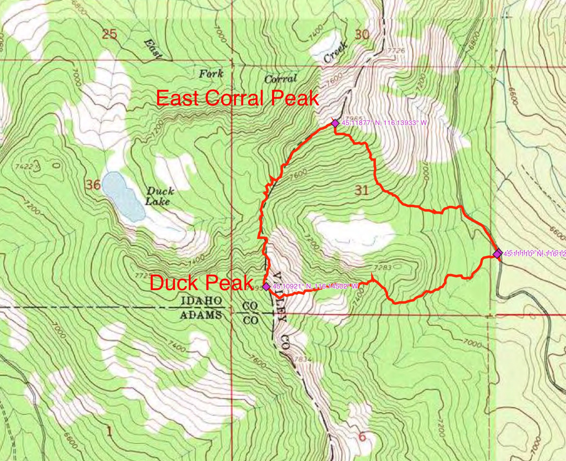 John Platt's GPS track showing his route climbing up Duck Peak's east ridge and then traversing north to East Corral Peak.