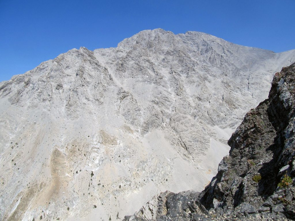 The West Face of Mount Borah. The Northwest Ridge follows the upper left skyline. The Southwest Ridge is on the right. Photo by Abram Grisham