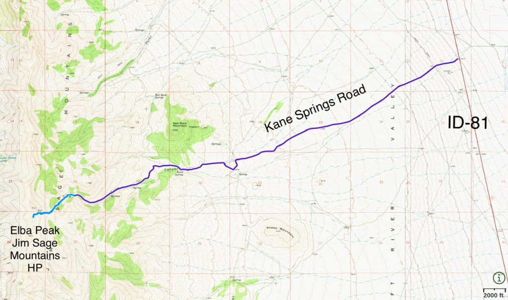 The driving route from ID-81 is shown in purple. It is 7.4 mikes with 1,930 feet of elevation gain from ID=81 to the roads end. The hiking route is shown in blue. The ascent covered 1.8 miles with 1,200 feet of elevation gain round trip.