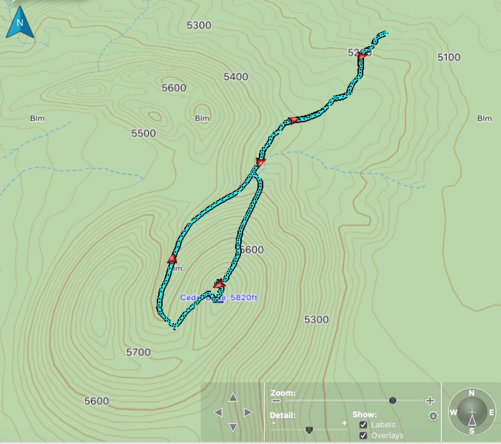 Climbing track on a topo map.